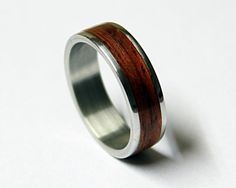 Titanium ring with mahogany wood inlay