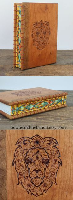 Unique Woodburned Journal - Handcrafted and Handbound by Bowtie and the Bandit in an unplugged wood shop. Reclaimed wood journal, handbound coptic stitch, tribal lion, sugar skull lion head, custom coptic stitch binding