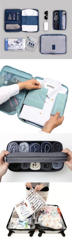 If you have been on the lookout for a gift for him, we have the perfect gift for you. The Business Travel Pouch comes with a large luggage bag, business travel shirts pouch, dual underwear pouch and lolly travel bag set. Check out our pictures to see just how functional and efficient this set really is!