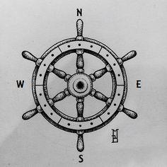 geometric compass ship's wheel tattoo #tattoo#compass#geometric#dotwork#ship's wheel