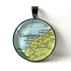 Vintage Map Pendant of Casablanca, Morocco, in Glass Tile Circle  - Maroc Désert Expérience tours http://www.marocdesertexperience.com