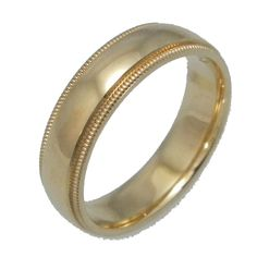 Men's Yellow Gold Milgrain Band