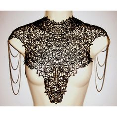 Steampunk lace black bib detachable collar necklace with bronze chain... ($79) ❤ liked on Polyvore featuring jewelry, necklaces, accessories, bib necklaces, bronze chain necklace, long bib necklace, tiered necklace and lace collar necklace