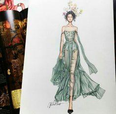 Drawing Fashion Eris Tran: Watercolor Illustration of Christian Dior, Haute Couture, Spring/Summer 2017 - Fashion Design Sketchbook, Fashion Design Drawings, Fashion Sketches, Drawing Fashion, Arte Fashion, Couture Fashion, Fashion Show, Dior Fashion, Trendy Fashion