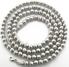 10K White Gold Disco Cut Ball Chain 34 Inches Long 8mm 54.05 Grams.  #necklace #jewelry