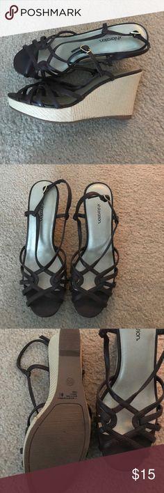 Xhilaration shoes size 8 1/2 Strappy wedge shoes brown Xhilaration Shoes Wedges