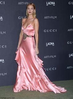 Rosie Huntington-Whiteley wearing Gucci pink satin gown at the 2016 LACMA Art + Film Gala (October 2016). #celebrity #redcarpet #celebritystyle #fabfashionfix #rosiehuntingtonwhiteley #gucci