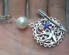 Hunger Games Inspired Mockingjay with Pearl necklace-antique silver