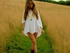Cowboy Boots and White Dress