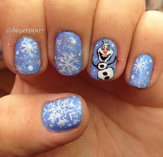 Cute Winter and Christmas Nail Ideas - Frozen Olaf nail art with snowflakes! | CraftyMorning.com