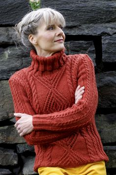 Dashing cable and lace stitch patterns in burnt orange shade and a polo neck are part of the autumn palette. The pullover is worked in Novita 7 Veljestä Brothers) yarn. Free Knitting Patterns For Women, Sweater Knitting Patterns, Knit Patterns, Hand Knitting, Orange Sweaters, Sweater Making, Handmade Clothes, Lana, Knit Crochet