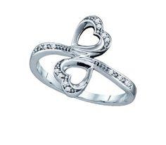 Amazon.com: 0.04ctw Diamond Heart Ring 10K White Gold: Jewelry