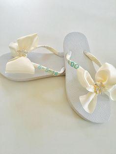 3b5d2d8d3 Beach Wedding Shoes Bridal Flip Flops Wedding Flip Flops Wedding Shoes  Bridesmaid Shoes Decal Flip Flops