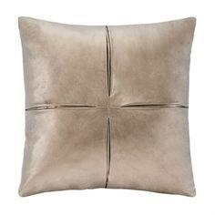 Metallic Faux Leather Square Pillow #dlhomedecor
