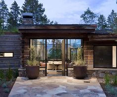Custom home entry by Ward+Blake Architects in Wilson, Wyoming.