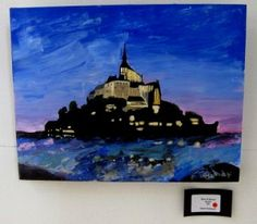 Mont St Michel, a painting of the Mont at dusk. Acrylic on canvas. Harmony Design, Handmade Clocks, Watercolour Painting, Dusk, Presents, Graphic Design, Studio, Canvas, Crafts