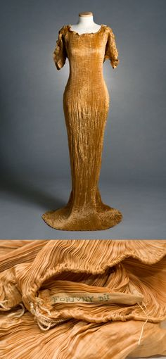 Pleated silk Delphos dress, possibly c. 1918, by Mariano Fortuny. From the collections of the Charleston Museum