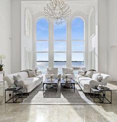 Grand all white Miami living room decor with white living sofas and white chairs Living Room White, Living Room Decor, Living Rooms, Space Furniture, Outdoor Furniture Sets, Castle Rooms, Miami Living, Interior Architecture, Interior Design