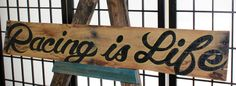 Racing Is Life Upcycled Pallet Wood Art by CryptobioticDesigns on Etsy