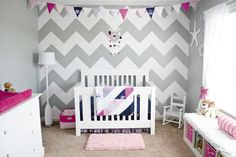 Grey, white, navy, pink chevron nursery