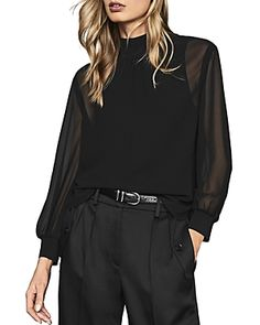 Reiss Sandrine Sheer-sleeve High-neck Top In Black High Neck Blouse, High Neck Top, Sheer Blouse, Black Blouse Outfit, Reiss, Women Brands, Black Tops, Sleeves, Clothes