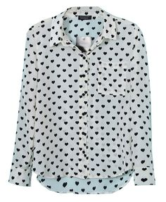 All-over Black Hearts Print Point Collar Blouse