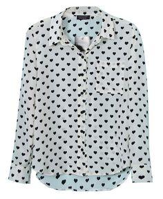 All-over Black Hearts Print Point Collar Blouse Přáníčka 0a9b94c959