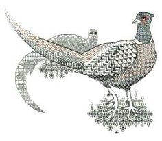 Blackwork Pheasants Hand Embroidery  by Tanja Berlin: Berlin Embroidery Designs