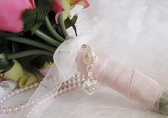 Crystal Heart Bridal Bouquet Charm by Keepsakes By Katherine on Etsy
