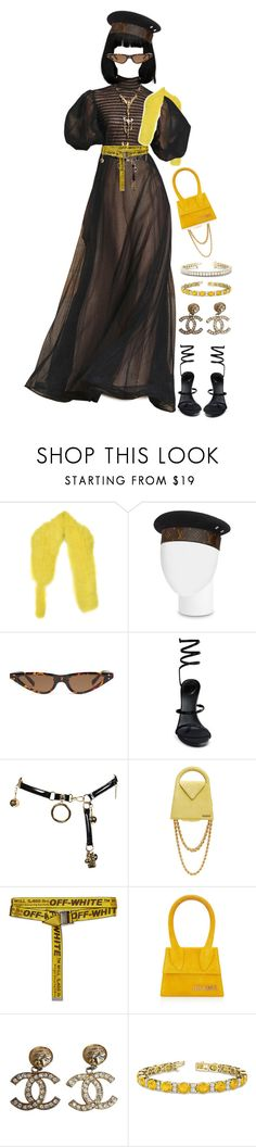"""Good with a side of narcissism."" by thaijohnson ❤ liked on Polyvore featuring Sonia Rykiel, René Caovilla, Jacquemus, Off-White, Chanel and Allurez"