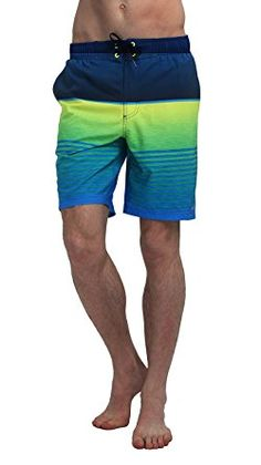 UNIMONG Men's Swim Trunks Black and Gray Stripes Printing Board Shorts Review