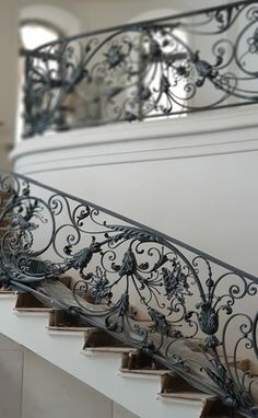 A copy of the railing of the Petit Palais Paris. Wrought Iron Stair Railing, Wrought Iron Decor, Stair Handrail, Staircase Railings, Wrought Iron Gates, Staircase Design, Stairways, Rustic Stairs, Wooden Stairs