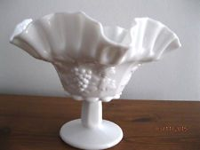 """Westmoreland Milk Glass, Paneled Grape Pattern. Small fancy flared compote, c1940-1984. 8½"""" w x 6"""" tall, 3½"""" base. $5.00 atconnb209 on ebay, 9/8/15"""