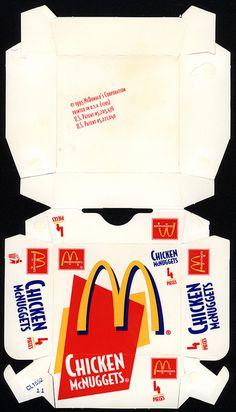 McDonald's - Chicken McNuggets 4-pieces box - 1995 by JasonLiebig, via Flickr Box Template Printable, Printable Paper, Barbie Food, Doll Food, Barbie Furniture, Barbie House, Paper Models, Doll Crafts, Kirigami