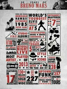 Infographic - 30 Years of Bruno Mars When I See You, When You Smile, The Way You Are, Your Smile, Happy 30th Birthday, Bruno Mars, 30 Years, Singer, Amazing