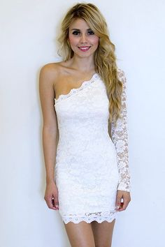 Lace One Shoulder Dress - White | Colors of Aurora
