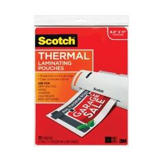 #5: Scotch(TM) Thermal Laminating Pouches, 8.9 Inches x 11.4 Inches, 50 Pouches (TP3854-50).