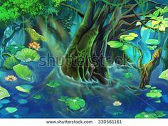 Illustration: The Tree Pond. Realistic Cartoon Style Scene / Wallpaper / Background Design.  - stock photo