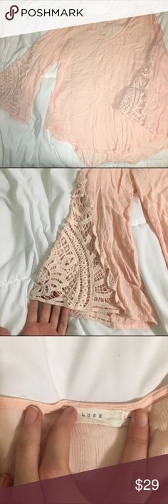 Lush Lace Bell Sleeve Top Really soft and flows. Super comfortable perfect for summer Lush Tops Tees - Long Sleeve