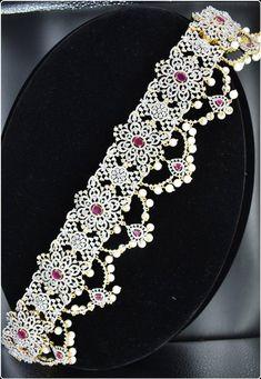 stunning southindian vaddyanam hipchain,hipbelt,waistbelt in American diamonds Filigree Jewelry, Diamond Jewelry, Gold Jewelry, Jewelry Necklaces, Unique Jewelry, Jewellery, Bohemian Jewelry, Indian Jewelry, Vaddanam Designs