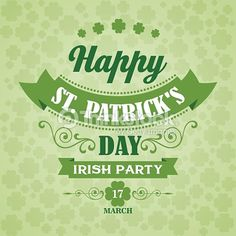 Happy Saint Patrick's Day Poster. Typographic With Ornaments, Ribbon : Vector Art