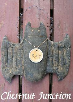 Bella Bat ePattern  primitive halloween doll by chestnutjunction, $3.99