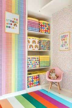 Versatile woodworking, many colors in every detail décor and an entire wall of mirrors are some of the project& highlights Baby Room Decor, Room Decor Bedroom, Toy Rooms, Kids Decor, Home Decor, Little Girl Rooms, Girls Bedroom, Room Inspiration, Kids Room