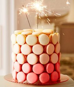 Adult Coloring Party Planning, Ideas & Supplies >> This easy to make macaron cake fits into the two-fer category -- food & decor!