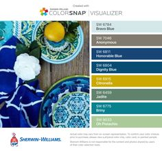 I found these colors with ColorSnap® Visualizer for iPhone by Sherwin-Williams: Bravo Blue (SW 6784), Anonymous (SW 7046), Honorable Blue (SW 6811), Dignity Blue (SW 6804), Citronella (SW 6915), Jadite (SW 6459), Briny (SW 6775), Oh Pistachio (SW 9033).