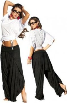 Black Wrap Style Low Rise Harem Pants:Amazon:Clothing