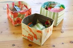 "Easy handmade little baskets for those random things you want to gather and have a ""place"" for. Free tutorial."