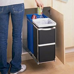 19. Hide recycling and garbage bins with a pull-out unit.