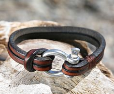 Brown Leather Bracelet with Nautical Omega Shackle Clasp - OZWristGear.com – OZ Wrist Gear Leather Bracelets