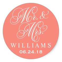 Wedding Favor Stickers | Mr. and Mrs. Monogram
